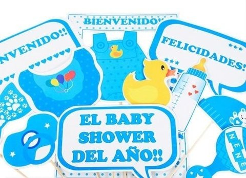 Photo Props baby shower celeste x12 unidade