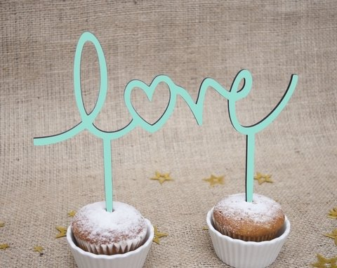 Cake Topper Love verde menta  MINI