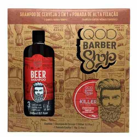 Kit Shampoo 3 Em 1 240 Ml + Pomada Killer 70 Gr Q.o.d Barber