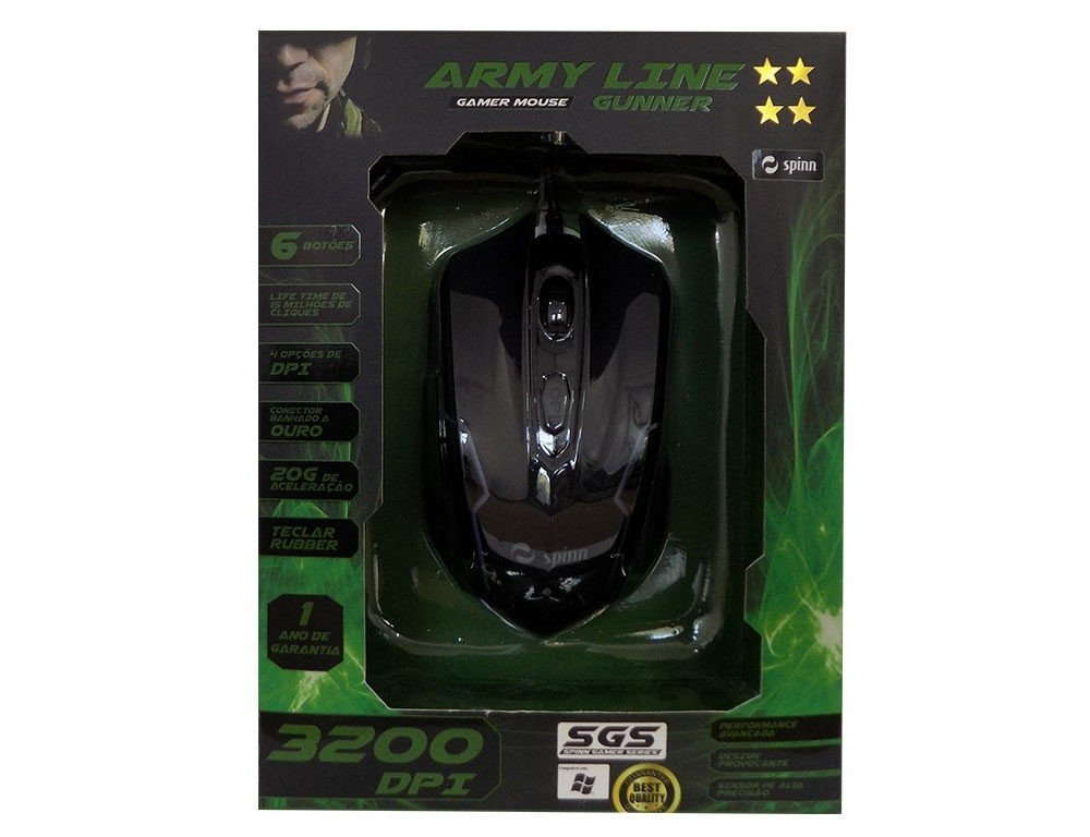 Mouse Gamer 3200dpi Óptico Botões: 6 + Scroll