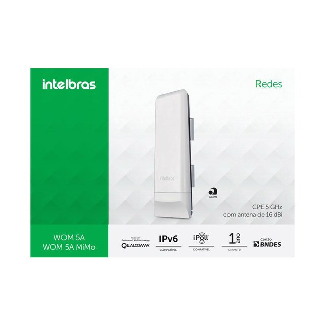 Ap Outdoor Cpe 300mbps Intelbras Cpe Wom 5a 5ghz 16dbi - loja online