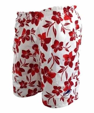 Short de Baño Flowers Rojo