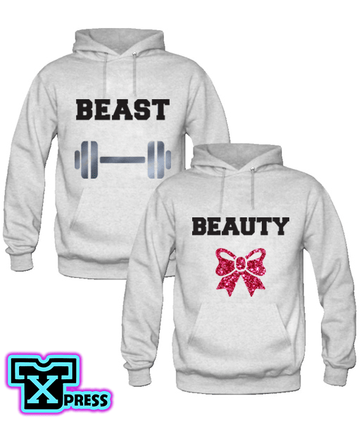 SUDADERAS BEAST AND BEAUTY CON GORRA - comprar online