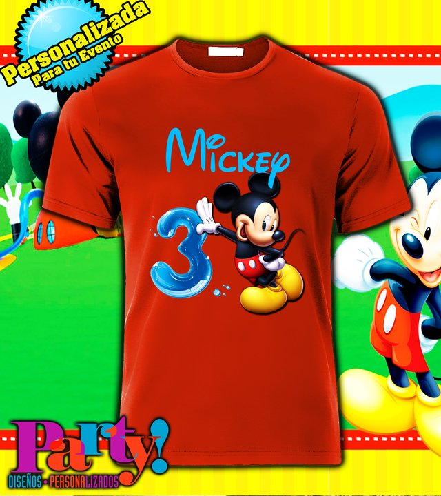 Playera Personalizada Mickey Mouse Party  - comprar online