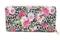 Billetera ecocuero animal print y flores
