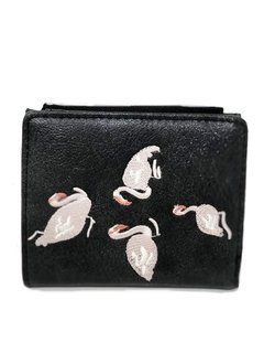 Billetera simil gamuza bordado Cisne blanco BT 185 / Negro - Tutti Tienda on line