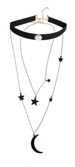 Collar tipo chocker largo estrellas y luna