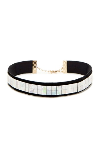 F21 - Holographic Velvet Choker - Make Up Importado