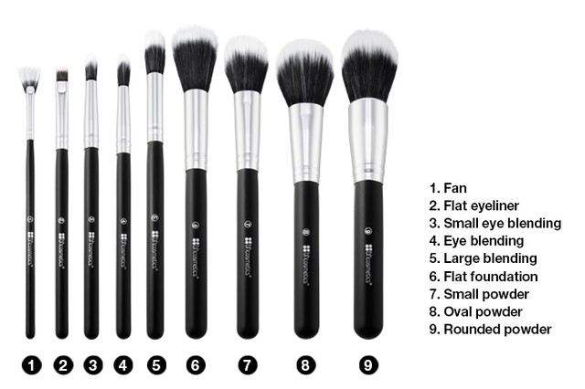 BH Cosmetics - Dual Fiber - 9 Piece Brush Set with Black Brush Roll en internet