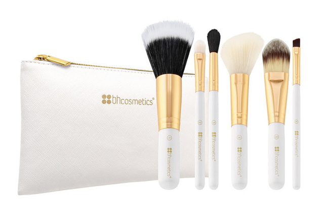 BH Cosmetics - 6 Piece Brush Set with Cosmetic Bag White & Pink en internet