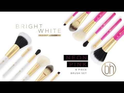BH Cosmetics - 6 Piece Brush Set with Cosmetic Bag White & Pink