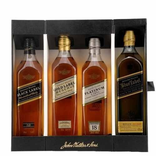 WHISKY JOHNNIE WALKER SET COLLECCIÓN 4 BOTELLITAS DE 200 CC CADA UNA EN UN ESTUCHE DE REGALO - comprar online