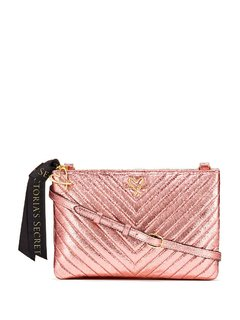 Victoria's Secret - Cartera V-Quilt Metallic Crackle Glam Crossbody Pink