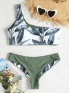 Zaful - Leaf Print One Shoulder Bikini