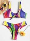 Zaful - Rainbow Paint Knot Bikini
