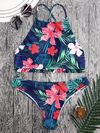 Zaful - Tropical Floral High Neck Ruffles Bikini