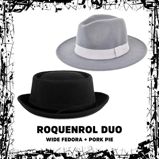 Roquenrol Duo = 1 Wide Fedora + 1 Pork Pie Clássico
