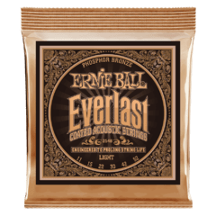 ERNIE BALL 11-52 EVERLAST LIGHT COATED PHOSPHOR BRONZE ACOUSTIC GUITAR STRINGS - 2548