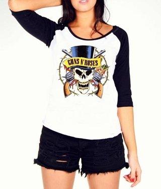 Camiseta Raglan Feminina Manga Longa Guns n  roses Rock 65d558f05f4c1