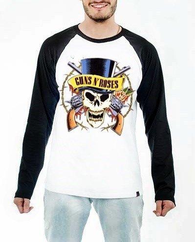 Camiseta Raglan Manga Longa Guns n  roses Rock ae03d762c9b97