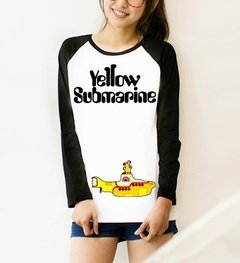 Camiseta Raglan Feminina Manga Longa The Beatles Yellow Submarine