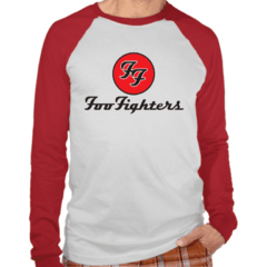 Camiseta Raglan Manga Longa Foo Fighters Banda de rock