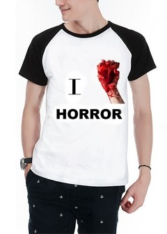 Camiseta Raglan Manga curta I Love Horror Halloween