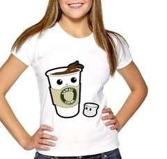 Camiseta Baby Look Kawaii Coffe Café
