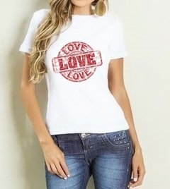 Camiseta Baby Look Carimbo Love