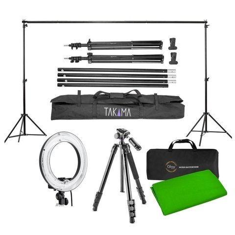 Kit Takama YouTube Photography Lighting (Tripié/Monopié, Portafondos, 2 Pinzas, Lámpara de Anillo, Tela Verde y Estuches)