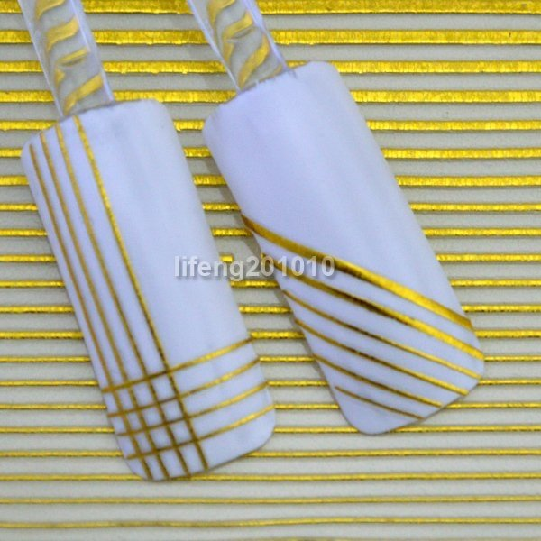 Born Pretty 3D Gold Nail Art Liner Stripe Sticker Decals