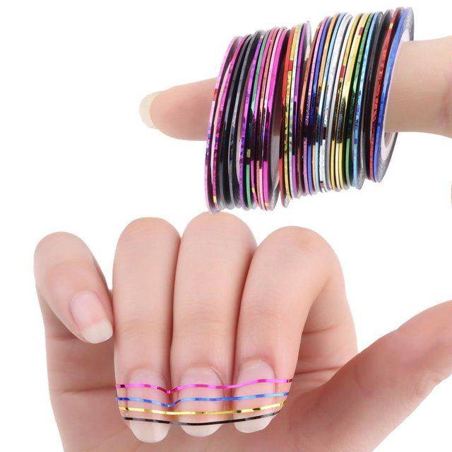 Multi Colors Rolls Striping Tape Line Nail Art Tips Decoration Sticker - Por Unidad en internet
