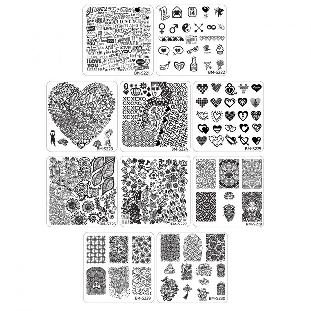 Bundle Monster 10pc Holiday Nail Art Stamping Plates