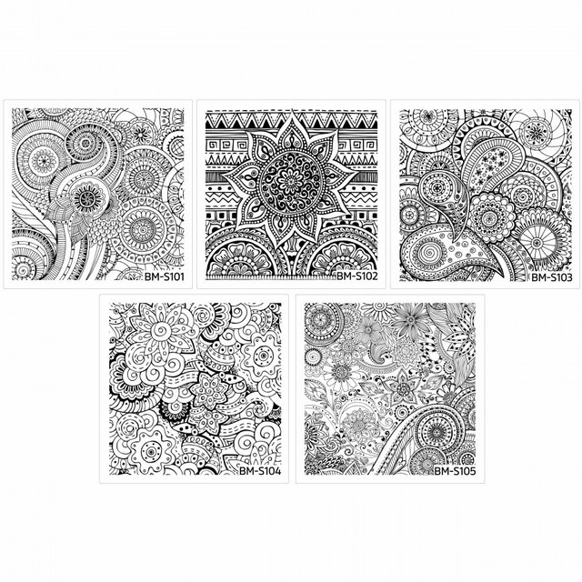 Bundle Monster 10pc Abstract Themed Square Nail Stamping Plate: Shangri-La Master Set