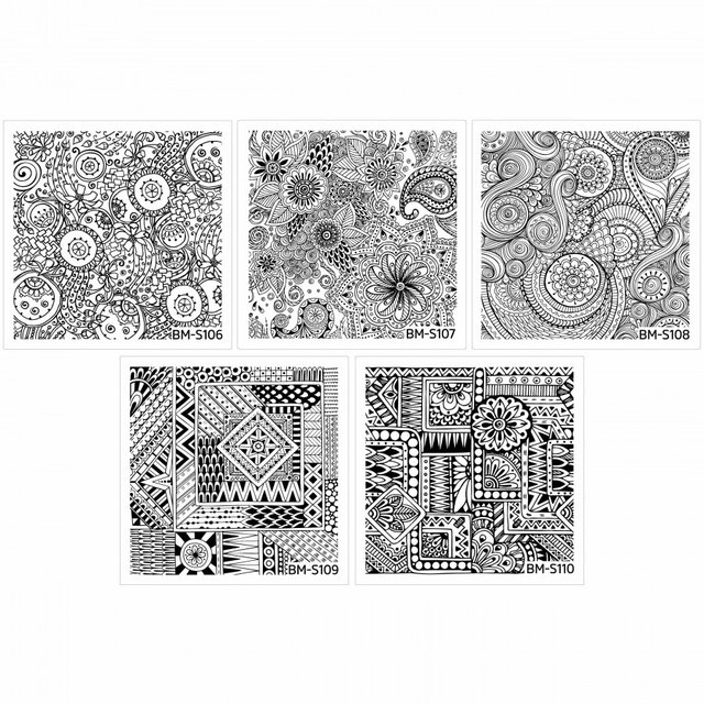 Bundle Monster 10pc Abstract Themed Square Nail Stamping Plate: Shangri-La Master Set - comprar online
