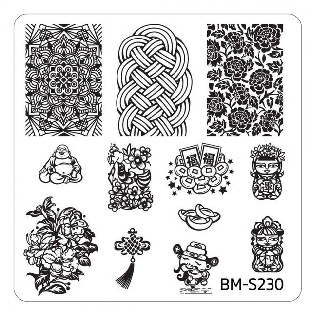 Bundle Monster Nail Art Stamping Plates- BM-S230