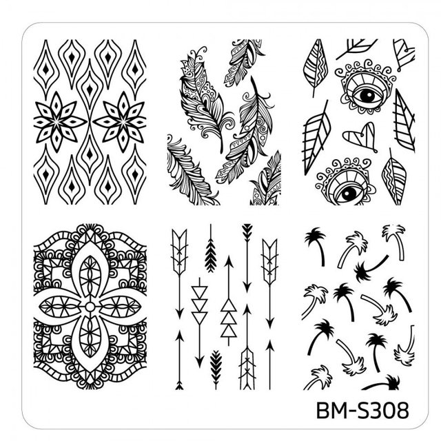 Bundle Monster Nail Art Stamping Plates- BM-S308