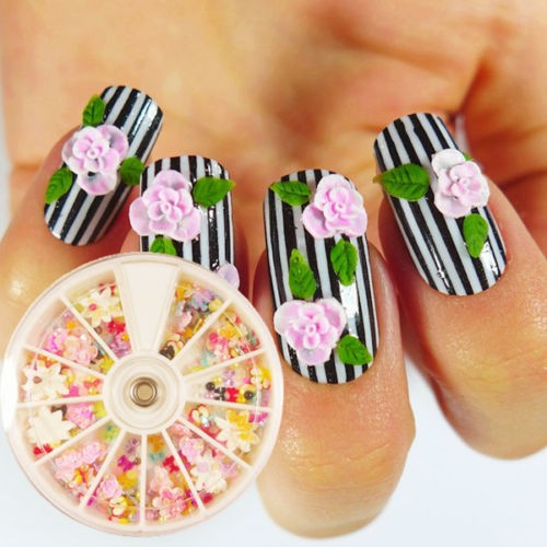 360pcs Wheel Mixed Nail Art Tips Glitter Pearls Rhinestones Bowknot
