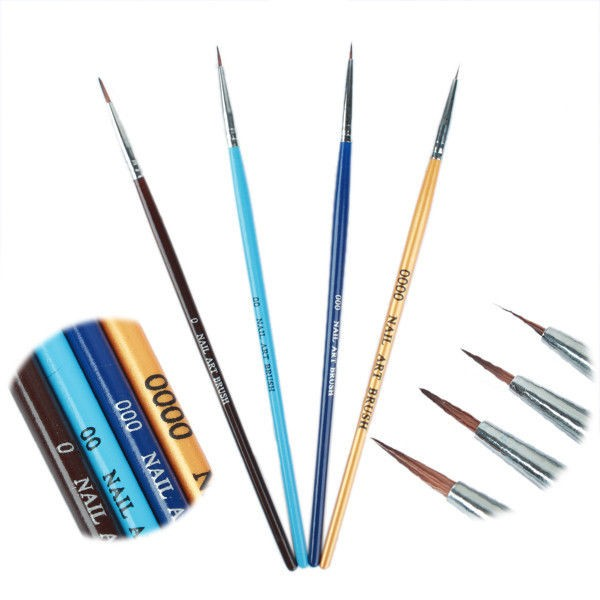 4 pcs Nail Art Painting Drawing Pen Acrylic Tips UV Gel Polish Brush Tool Set