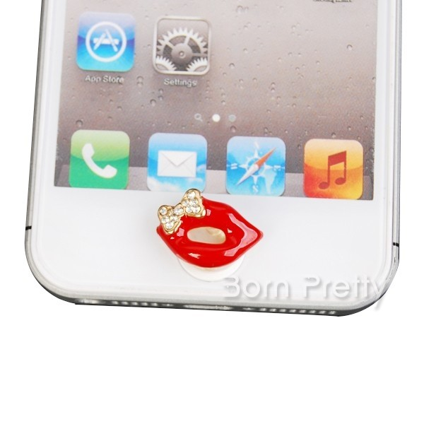 Lips Shaped Home Button Sticker