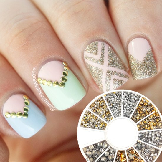 1.2mm/2mm/3mm Mini Gold And Silver Round Nail Art x 500 piezas