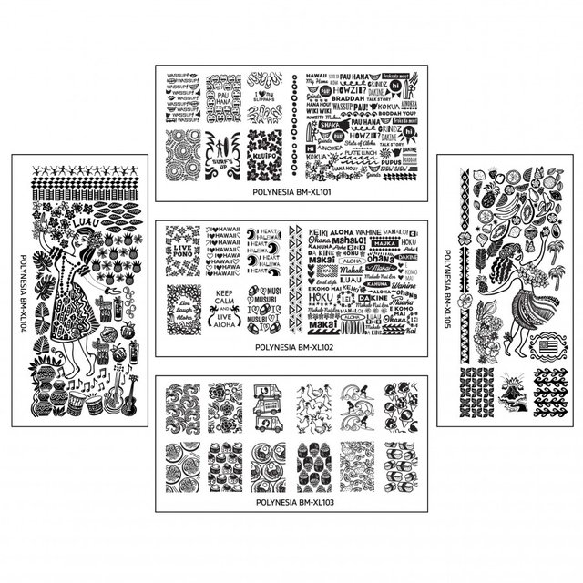 Polynesia Themed Nail Art Design XL Stamping Plates 101 a 105