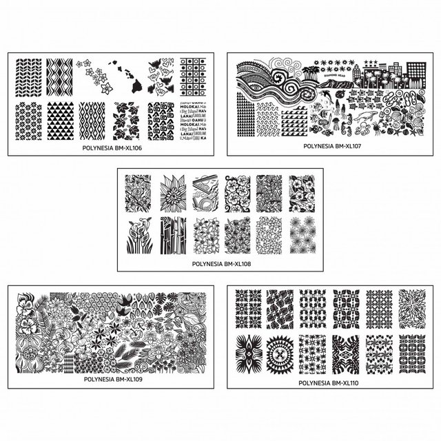 5pc Polynesia Themed Nail Art XL Stamping Plates-Land of Aloha 106 a 110