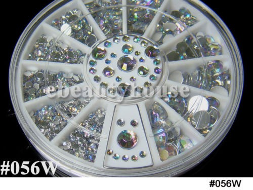 5 Sizes Acrylic Nail Art Decoration 3D 3 colores Glitter Rhinestones