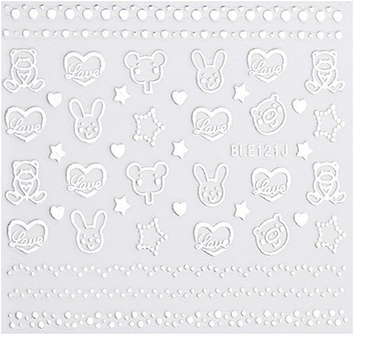 Silver 3D Nail Art Sticker Embossed Crown Heart Snowflake Stars Patterned Sticker