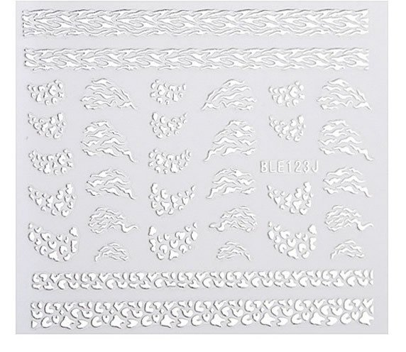 Silver 3D Nail Art Sticker Embossed Crown Heart Snowflake Stars Patterned Sticker en internet