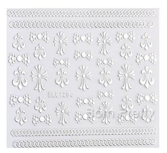 Silver 3D Nail Art Sticker Embossed Crown Heart Snowflake Stars Patterned Sticker - comprar online