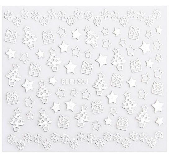 Silver 3D Nail Art Sticker Embossed Crown Heart Snowflake Stars Patterned Sticker - MimaQueen - Make Up Importado