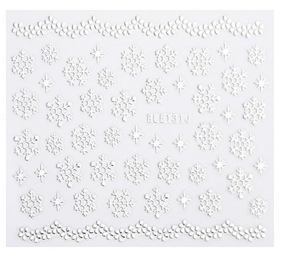Silver 3D Nail Art Sticker Embossed Crown Heart Snowflake Stars Patterned Sticker - tienda online