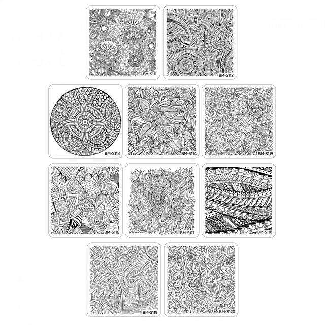 Bundle Monster 10pc Paisley Flow Stamping Plates Collection